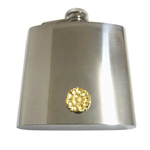 Gold Toned Tudor Rose 6oz Flask